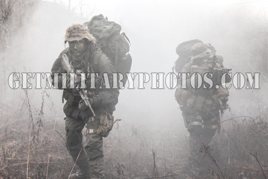 Group of soldiers in the smoke