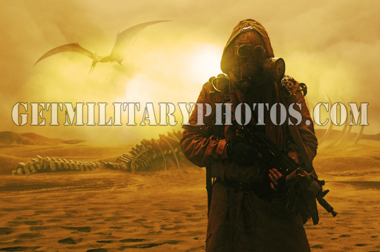 Nuclear post apocalypse. Desert and dead wasteland