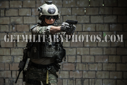 US Army Ranger aiming pistol