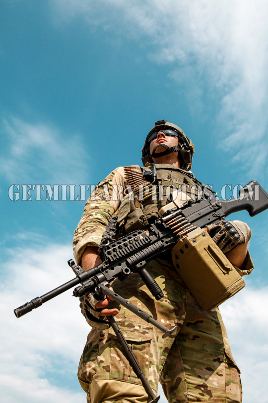 Low angle portrait of US Army Ranger