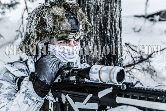 Winter arctic mountains sniper