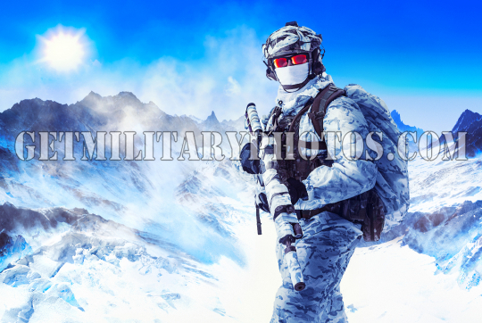Soldier in winter uniforms