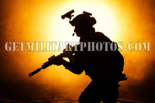 Black silhouette of soldiers