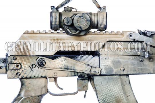 Kalashnikov assault rifle on white background