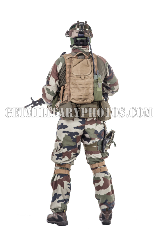 French paratrooper with weapons