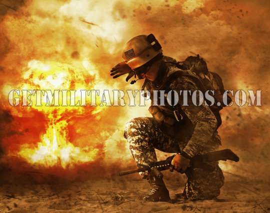 soldier turning to mushroom cloud