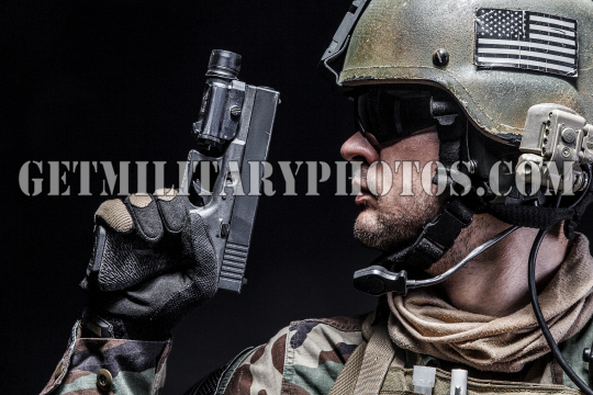 soldier with pistol