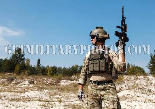 US Army Ranger with weapons in the desert