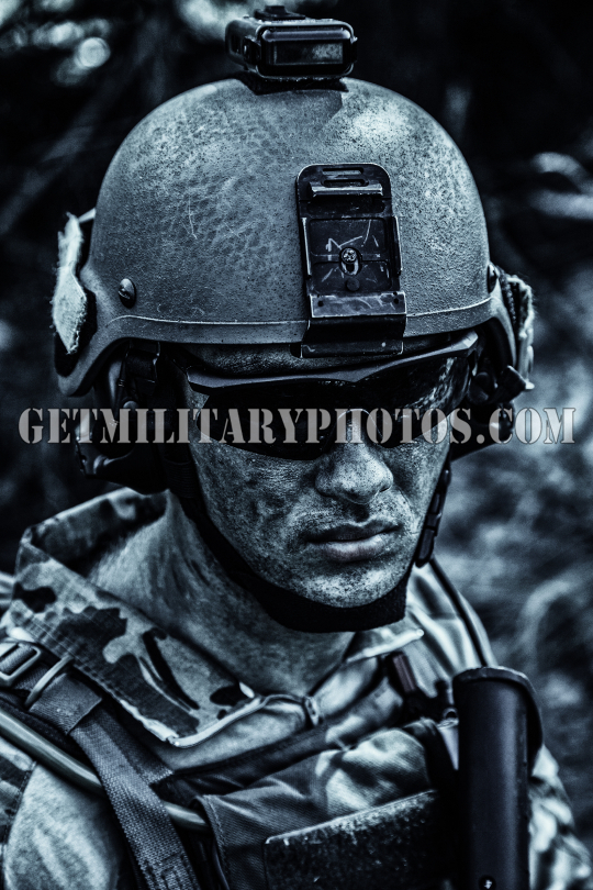 Grimy dirty face of US Army Ranger