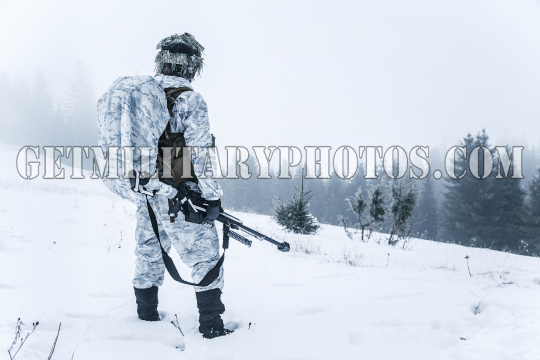 Action in cold conditions sniper with weapons