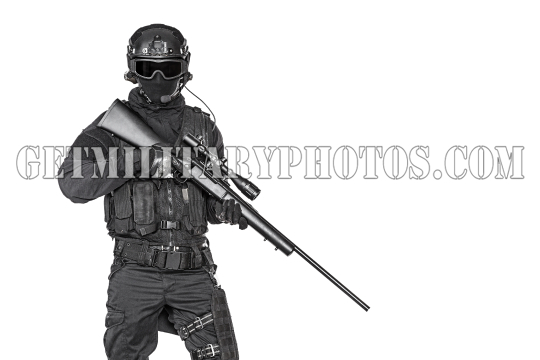 swat operator with sniper rifle