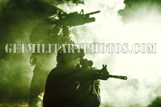 Black silhouettes of soldiers