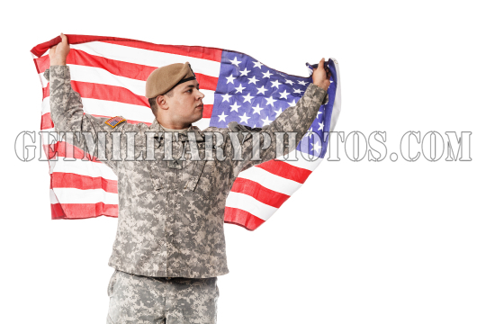 US Army Ranger with american flag