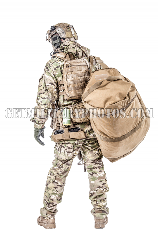 Soldier with gym bag