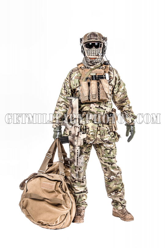 Soldier with duffel bag